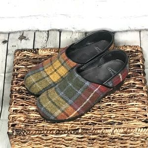 Dansko wool plaid clogs